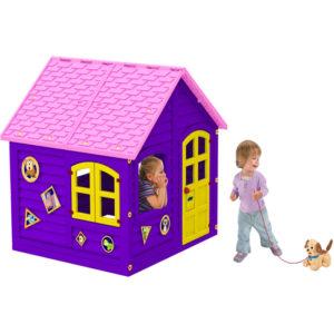 домик фиолетовый детский игрушка для улицы и дома леко фото фотография картинка изображение рисунок детский для детей и малышей уличный 120 см большой красивый яркий сборный разборный раскладной с розовой крышей в полный рост