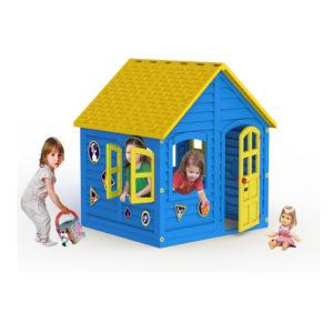домик синий с жёлтой крышей игровой детский уличный всепогодный пластиковый для детей дома дачи улицы 120 120 картинка фото фотография изображение логотип