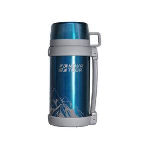 термос 1200 пал нова тур для холодных горячих еды напитков широкое узкое горло кнопочный с ремешком две чашки большой для похода природы дачи